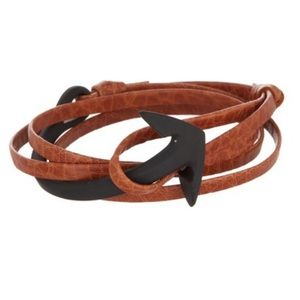 Miansai Anchor Half-Cuff On Leather Bracelet